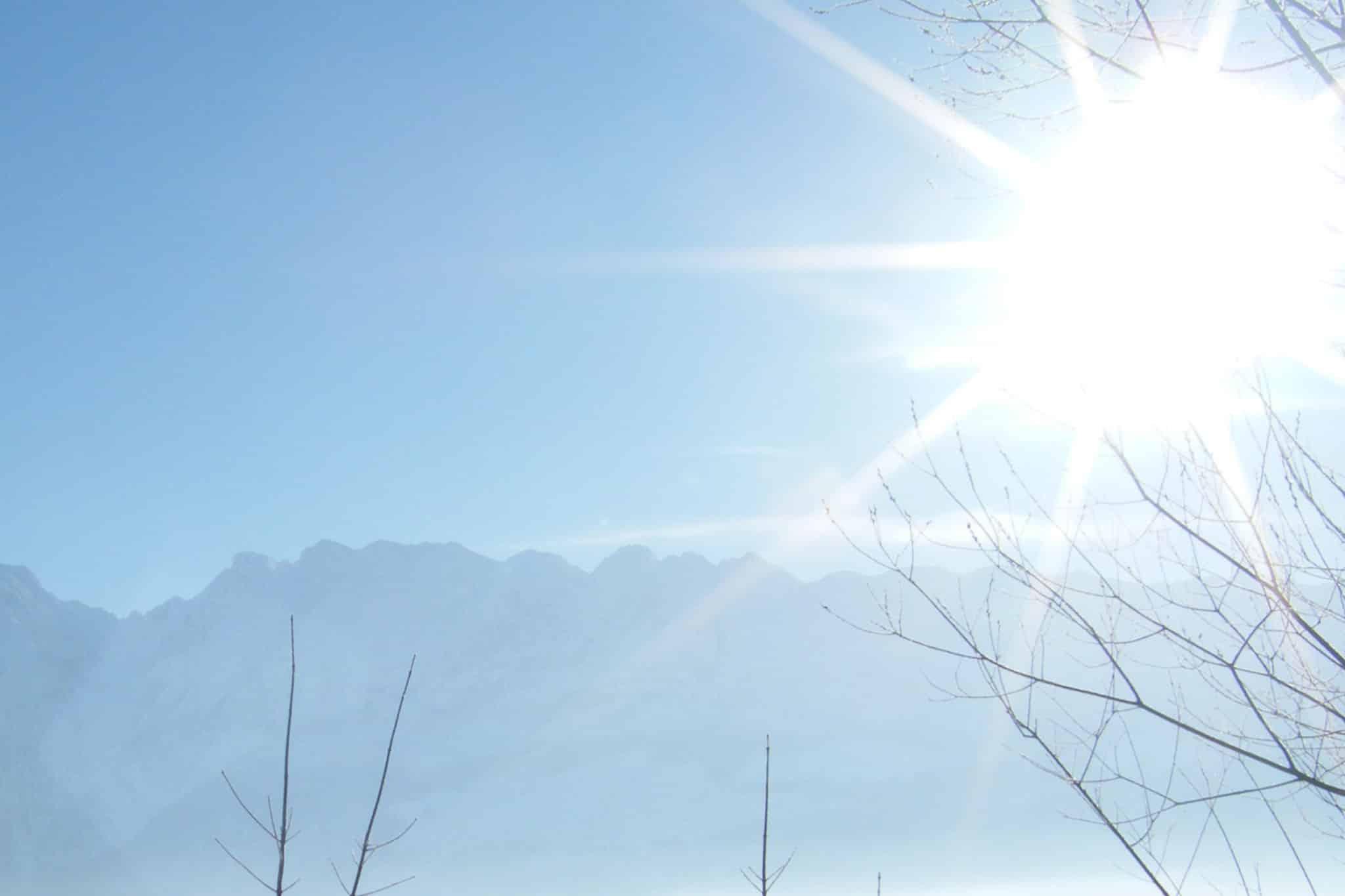 Winterstimmung an einem Wintermorgen mit Grimming - Blick von Sonnenalm, Bad Mitterndorf