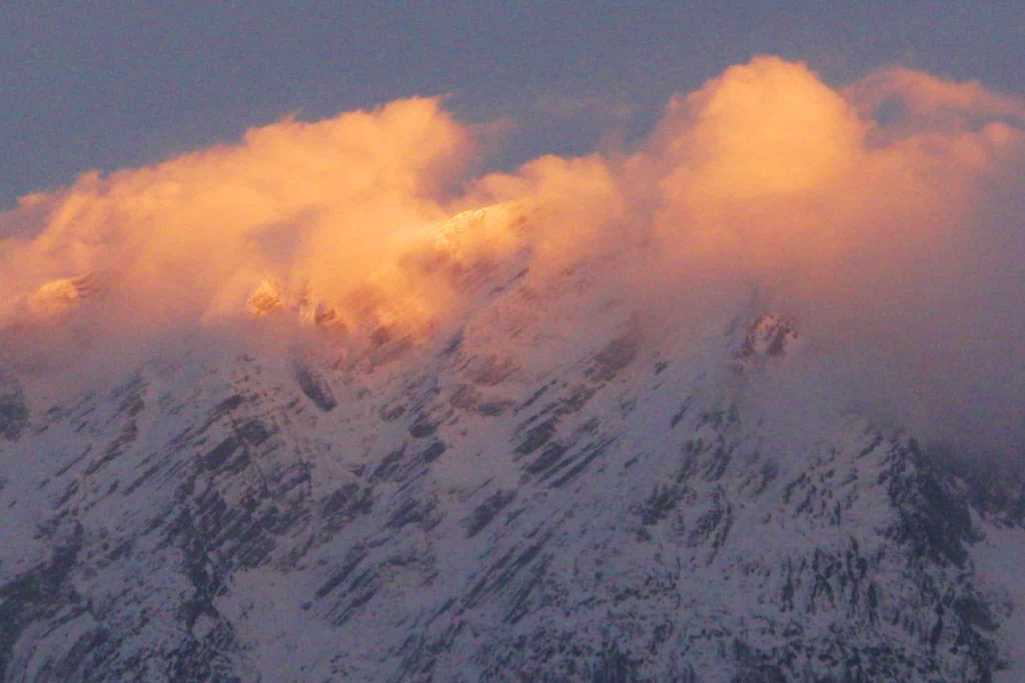 Morgenrot im Winter mit Grimming - Blick von Sonnenalm, Bad Mitterndorf